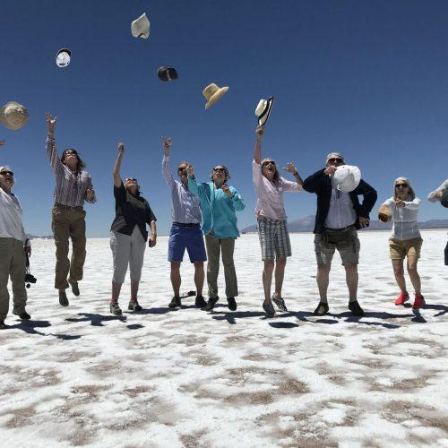 group in salt flats